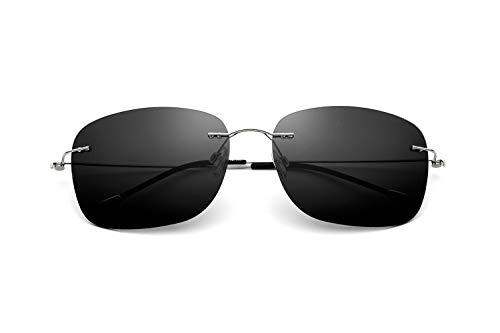 Handgefertigte ultraleichte High-End-Sonnenbrille Rahmenlose quadratische Anti-UV-Sonnenbrille Männer, die polarisierte Gläser Fahren (Color : Silver Frame Gray Lens, Size : Normal)