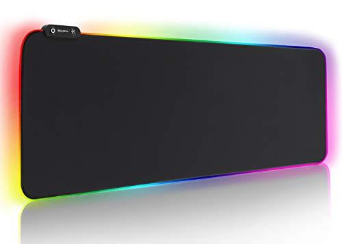 Reawul RGB Gaming Mauspad Groß - 7 LED Farben 14 Beleuchtungs-Modi Gaming Mouse Mat, Rutschfester Gummibasis und Wasserdichter Oberfläche Tastatur Mouse Pad - 800 x 300 x 4 mm -