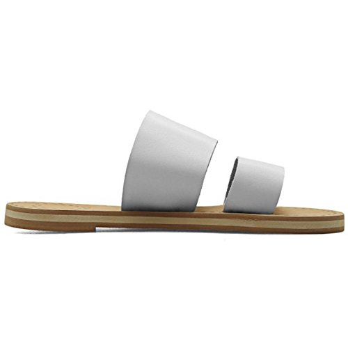 COOLCEPT Femmes Mode Orteil ouvert Mules Appartement Chaussures Blanc