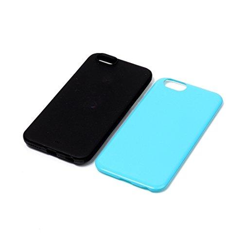 Phone case & Hülle Für iPhone 6 / 6s, TPU + PU Kombination schützende rückseitige Abdeckungs-Fall ( Color : Purple ) Blue