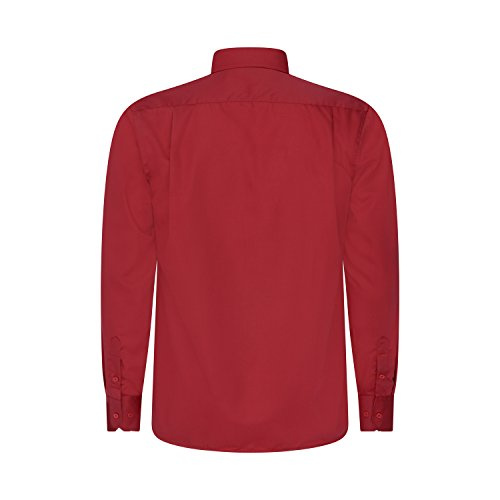 Robelli Herren Detail Plain Kleid Hemden/Hemd & Krawatte Kollektionen - Qualitäts Baumwolle oder Satin Style No. 8 - Red