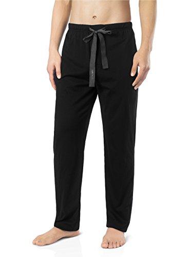Genuwin Herren Schlafanzughosen Baumwolle Jersey Hose Lang Schlafanzug PJ Unterseite mit Tunnelzug 1er Pack (L,Schwarz ) (Pj Baumwolle Herren)
