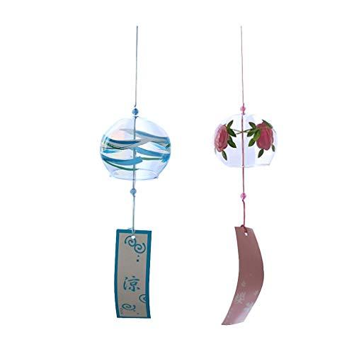 MMING Home Campanas de Viento de Cristal japonesas Decoración de Arte Campanas de Viento para decoración de Ventanas para el hogar