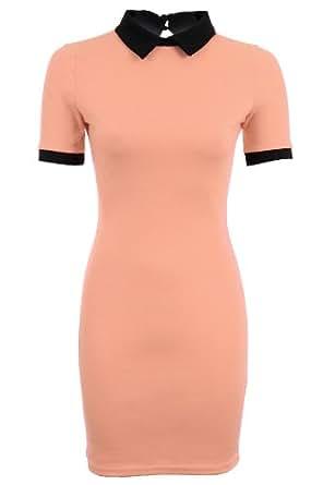 Ladies Short Sleeve Plain Peter Pan Collar Contrast Bodycon Women's Short Dress [Peach, UK 14]
