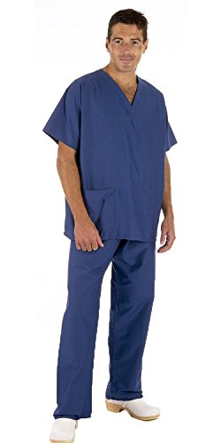Medizinische OP-Bekleidung, Set mit Hosen und Top, Unisex, Blau Oder Grün mit Caresupermarket-Stift Gr. XL, Cobalt Blue/Royal Blue (Medical Uniform Top Und Hose)