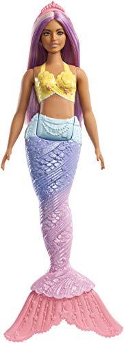 Barbie- dreamtopia bambola sirena con coda arcobalena e capelli viola, multicolore, fxt09