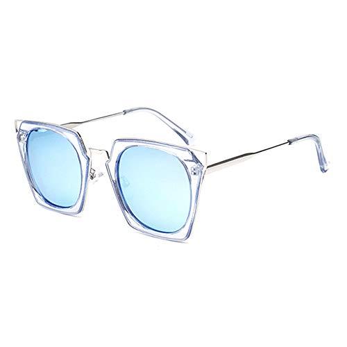 FURUDONGHAI New Ladies Polarized Sonnenbrillen Crystalline Color Foursquare Großformat Cat Eye Brillen UV400 Schutz besonders geeignet für sommerreisen oder Outdoor s (Farbe : Blue)