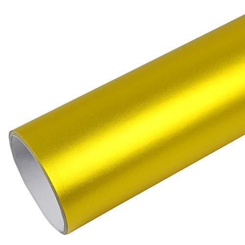 Rapid Teck® PREMIUM - MATT CHROM GELB 50cm x 1,52m Auto Folie Blasenfrei mit Luftkanälen für Auto Folierung und 3D bekleben in Matt Glanz und Carbon - 1/2 Chr