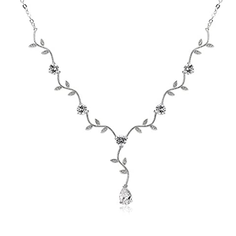 Epinki Silver Plated Vine Leaf Drop Round Cubic Zirconia Diamond White Necklace For Bridal