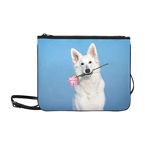 SHAOKAO Hund liegt im Bett voller roter Blumenmuster benutzerdefinierte hochwertige Nylon dünne Clutch-Tasche Umhängetasche Umhängetasche -