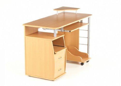 hjh OFFICE 673794 Schreibtisch VARIAL PROFI Buche/Silber mit Standcontainer