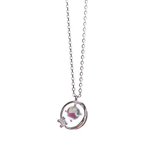 S-P S925 Silber Kleine Frische Blaue Glas Fantasy Planet Universum Aurora Planet Weibliche Schlüsselbein Kette Halskette
