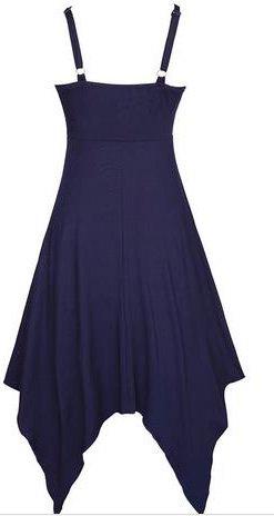 Frauen Sundresses Unregelmäßiges Uni-Farben V-Ausschnitt Freizeitkleid Trägerkleid Schulterfrei Midikleid Blau