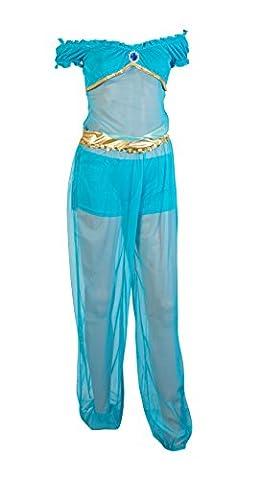 Schickes Prinzessin Jasmin Kleid Kostüm von Emma's Wardrobe – Enthält blaue Hose, blaue Shorts und blaues Top mit Stein – Jasmin Kostüm, arabisches Kostüm oder Genie Kostüm für Halloween – EU Größe