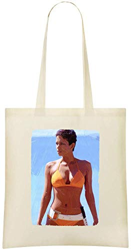 Halle Berry Custom Printed Grocery Tote Bag - 100% Soft Cotton - Eco-Friendly & Stylish Handbag For Everyday Use - Custom Shoulder Bags