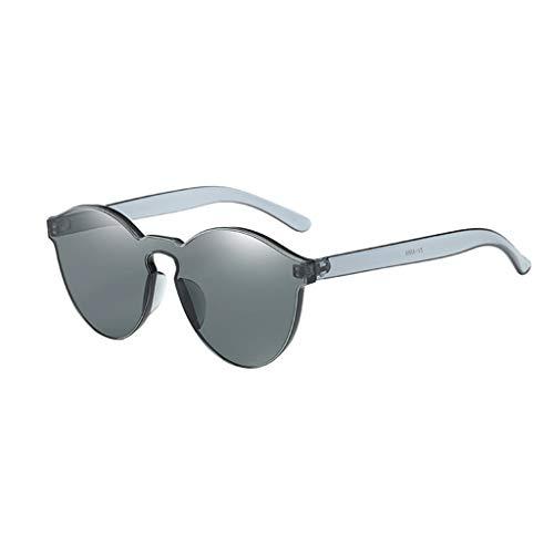 KUDICO Unisex Sonnenbrille Rahmenlose Glasses Frame Runde Bonbon Farbbrillen mit unterschiedliche Farben Brillengläser Party Brille(Schwarz, One Size)