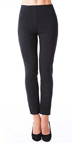 DANAEST Damen stretch Hose gerades Bein ( 491 ), Grösse:XL, Farbe:Schwarz