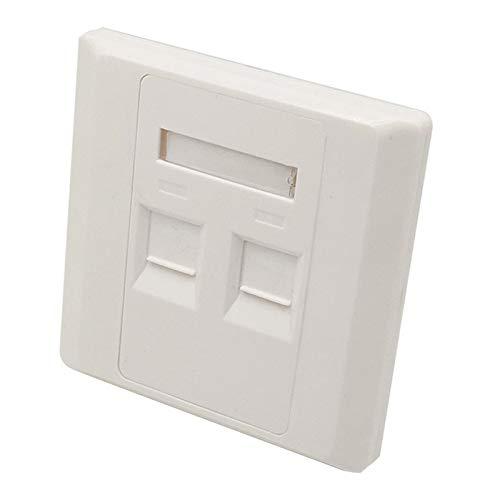 10 Units - Dual Port Keystone Wallplate RJ45 RJ11 Socket Wall Mount Faceplate,RJ45 Network Keystone Phone Plug Face Plate (86x86mm) Dual-port-wall Plate