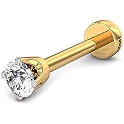 Candere By Kalyan Jewellers 18K (750) Yellow Gold and Diamond Dazi Nose Pin