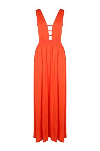 Orange Femmes Tessa Strappy Garniture Plunge Maxi Dress Orange