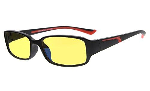 Eyekepper Computer-Lesebrille mit mehr als 94% Anti Blaulicht in Gelbe getönte Gläser (Schwarz/Rot Arm +1.75)