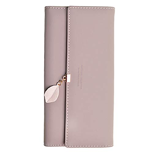 Damen PU Leder Lange Brieftasche mit Blatt Anhänger Kartenhalter Handytasche Mädchen Reißverschluss Geldbörse Gross Capacity (Schwarze Damen-scheckheft Brieftasche)