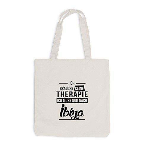 Jutebeutel - Ich Brauche Keine Therapie Ibiza - Therapy Urlaub Party Beige
