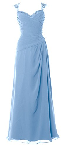 MACloth Women Cap Sleeves Long Mother of Bride Dress Open Back Party Formal Gown Sky Blue