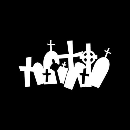GRAVESTONES Sticker Cemetery Vinyl Decal Grave Death Scary Halloween Burial Dead - Die Cut Vinyl Decal for Windows, Cars, Trucks, Tool Boxes, laptops, MacBook - virtually Any Hard, Smooth Surface (Scary Halloween Boxen)