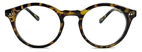 50er Jahre Nerd Brille Vintage Look Streberbrille Rockabilly runde Hornbrille clear lens N1554 (51 braun)