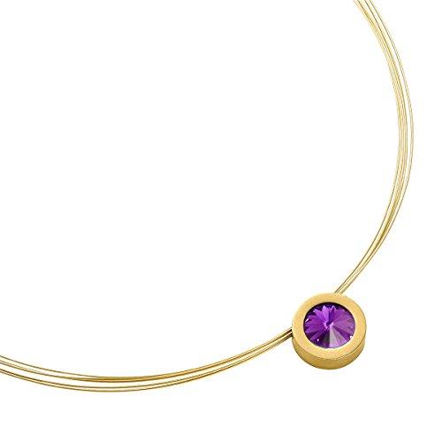 ¤nger Coma 16 Gold Swarovski Kristall Amethyst Modeschmuck Accessoires Halskette Kette Lang Edelstahl ha2128-7-204 (Amethyst Modeschmuck)