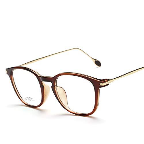 YMTP Frauen Brillengestell Klarglas Transparente Brillengestell Frauen Edelstahl Brillen Brillenfassungen, Braun