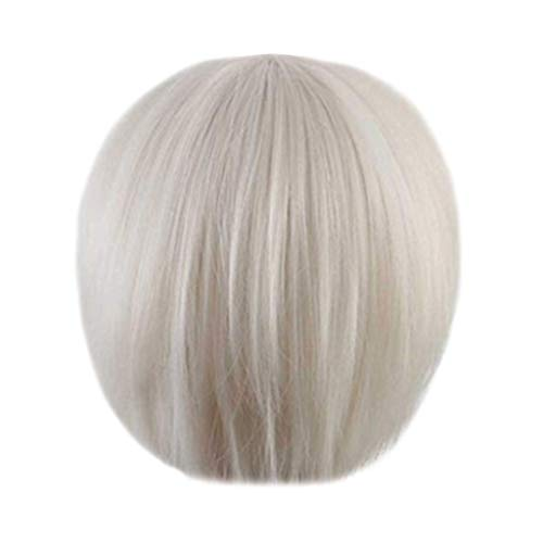 FORH Sexy Party Perücke Bob Disco Kurz & Frech Party Burlesque Weiße Coole Karneval Haarreife Frauen Hübsche Realistische Kurze Haar Haarverlängerungen