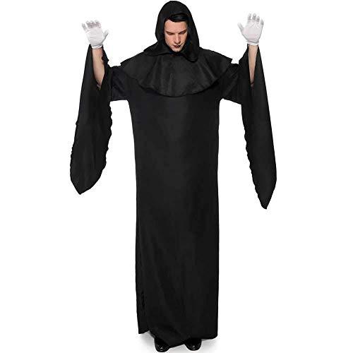 Kostüm Robe Kapuze Mit Black - Hcxbb-b Halloween Kostüm, Männer Tödlicher Mittelalter Zauberer Kapuzen Robe Cape Umhang, Party Cosplay Kostüm Outfit, Mit Hut & Handschuhen (Farbe : Black, Size : M)