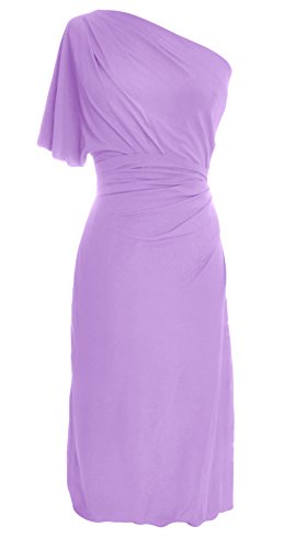 MACloth Women One Shoulder Jersey Cocktail Dress Short Wedding Party Formal Gown Lavande