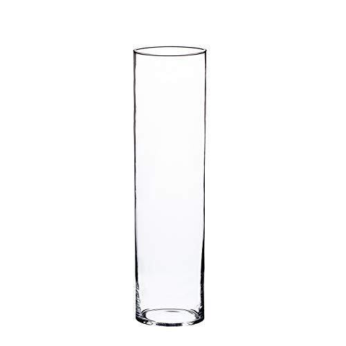 INNA Glas Zylindrische Glas Vase Sansa, transparent, 50cm, Ø15cm - Bodenvase groß/Windlicht