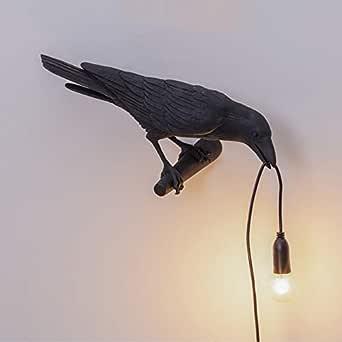 Black Sitting Table Lamp, EU Plug Wcjing Vogel Tischlampen Schlafzimmer Harz Kr/ähen Schreibtisch Lampe Nachtlicht Wandleuchte Studentenwohnheim B/üro Schlafzimmer Rabe Lampe f/ür Wohnzimmer