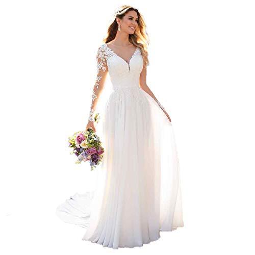 Nanger Damen V-Ausschnitt Hochzeitskleider Lang Ärmel Spitze Chiffon Boho Brautkleider Weiß 40 - Brautkleider ärmeln