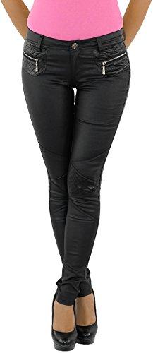 Damen Kunstlederhose Röhrenhose Bikerhose Damenhose Leder Look Hose Röhre Schwarz 7028 34
