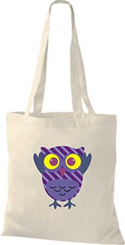 ShirtInStyle Jute Stoffbeutel Bunte Eule niedliche Tragetasche mit Punkte Owl Retro diverse Farbe, natur