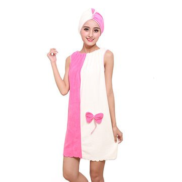 Honana BX-969 Flannel Soft Absorbent Skirts Salon Bathrobe Women SPA Bath Towel With Hair Dry Cap (ROSE & WHITE)