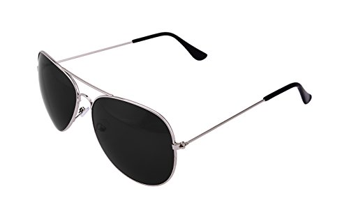XLNC Stylish Unisex Black Aviator Sunglasses with Silver Frame (Buy 1 Get 1)