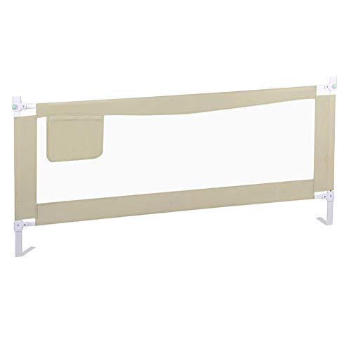 YYFANG Bettgitter Baby Anti-Fall Bett Leitplanke Baffle Vertical Lift Multi-Range-Anpassung Aufbewahrungstasche Design, 3 Farben, 4 Größen (Color : Beige, Size : 220x60-80cm) -