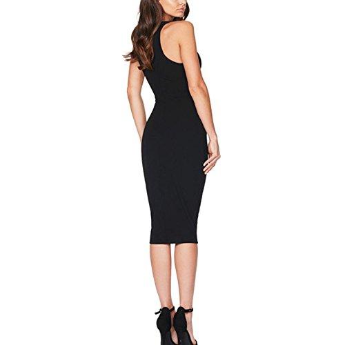WOCACHI Damen Sommer Kleider Frauen Hollow Out Bodycon ärmellosen Reizvolle Slim Fit Party Cocktail Tight Mini Kleid Schwarz