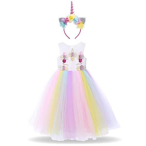 Kinder Baby Mädchen Einhorn Karneval Kostüm Prinzessin Geburtstag Kids Tüll Blume Kleid Halloween Cosplay Märchen Kleinkind Hochzeit Party Festzug Fasching Ankleiden Regenbogen (2pcs) 11-12 Jahre
