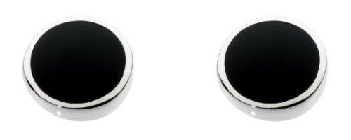 Dew Damen-Ohrstecker Silber Onyx - Halskette Schwarz-silber-ohrringe