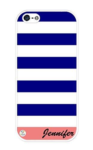 Personalisierte Blau Coral und Weiß Streifen Muster, Gummi iPhone 5Fall-Passt iPhone 5T-Mobile, at & T, Sprint, Verizon und International, iPhone SE, Weiß