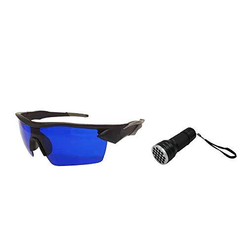 POSMA SGG070C Golfball-Finderbrille und 21 LEDs, UV-Taschenlampe, Geschenkset für Tag und Nacht, Ball Hunter Retriever