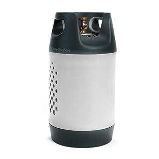 GFK Kunststoff Propangasflasche/Gasflasche 10 kg mit Schutzkragen/Füllstandsanzeige (Sichtfenster) (Propan, Composite Kunststoffgasflasche Gasflasche ähnlich Alu f. BBQ Camping Leichter 5 kg/11 kg)