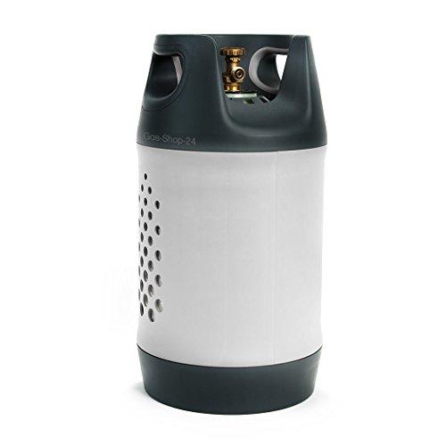GFK Kunststoff Propangasflasche / Gasflasche 10 kg mit Schutzkragen / Füllstandsanzeige (Sichtfenster) (Propan, Composite Gasflasche ähnlich Alu f. BBQ Camping leichter als 5 kg/ 11 kg)